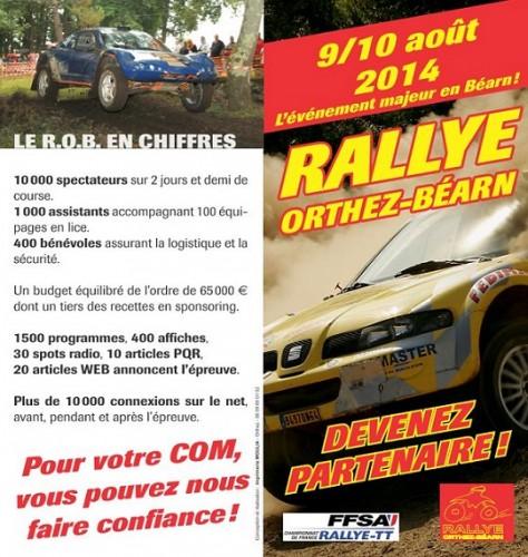 devenez partenaire du Rallye Orthez-Bearn 2014